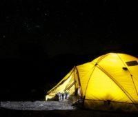 Tent camp at night