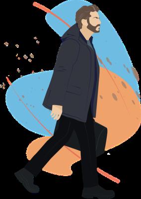 A man is walking
